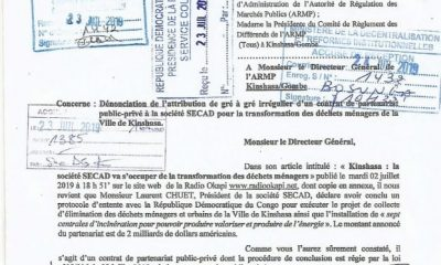 DRC: Two NGOs denounce irregular granting of a household waste market to SECAD