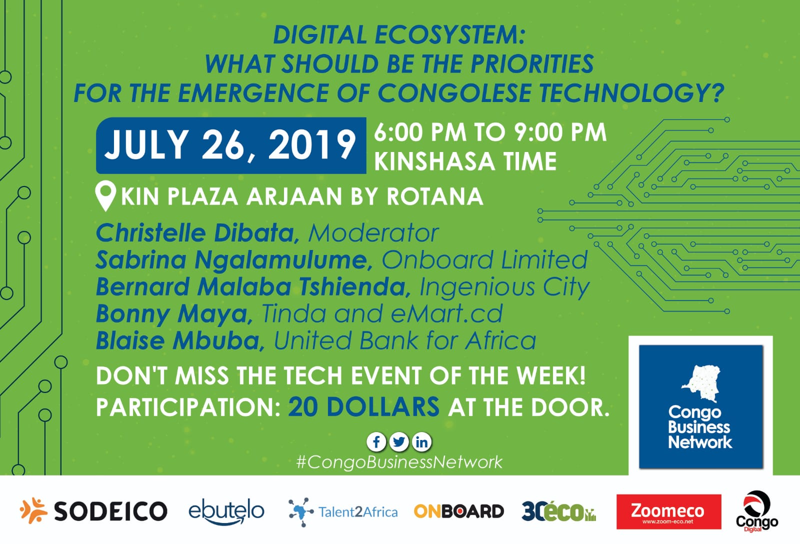 """Kinshasa: """"digital ecosystem"""" will be at the heart of Congo Business Network's event on July 26, 2019"""