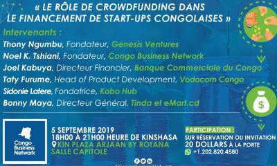 "Kinshasa: ""crowdfunding to finance the startups of the DRC"", theme of an exchange planned on September 5, 2019"