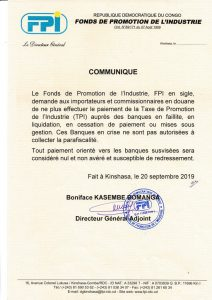 DRC: FPI prohibits directing the Industry Promotion Tax to banks in crisis