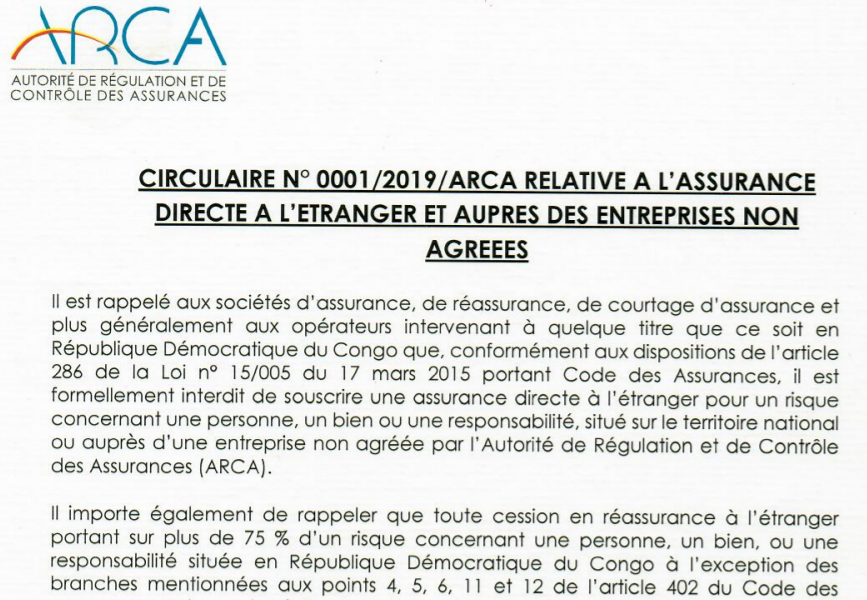 DRC: ARCA reminds the respect of article 286 of the Insurance Code!