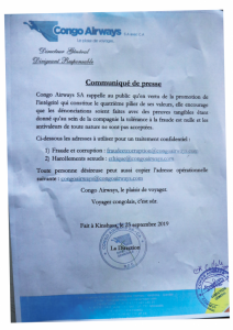 DRC: e-mail addresses of Congo Airways to report fraud in complete confidentiality!