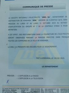 Kinshasa: electricity supply, SNEL announces disruptions from 7 to 21 October 2019