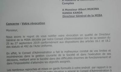 DRC: The DG of Miba dismissed for his limitations and inconsistencies in management!